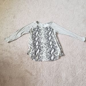 Snake skin color block  sequin elbow patch sweater